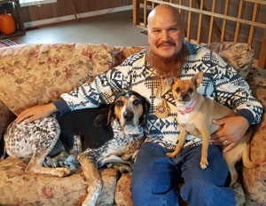 Jeff George with his rescue dogs Blue & Pita (photo: J. Baillie)