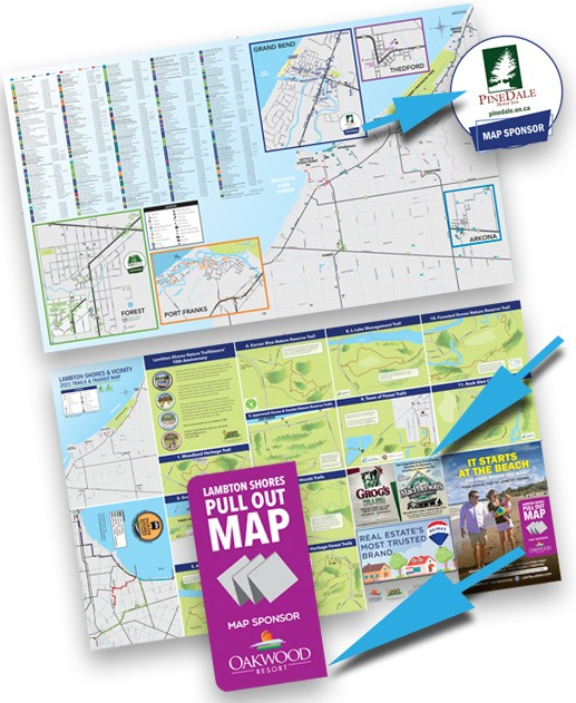 Pull out map showing ad placements